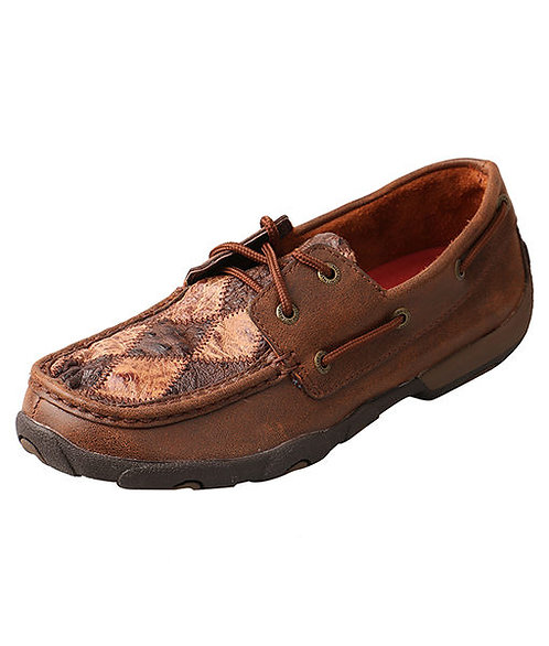 Women's Driving Moccasins – Oiled Saddle Ostrich/Bomber Ostrich WDM0056