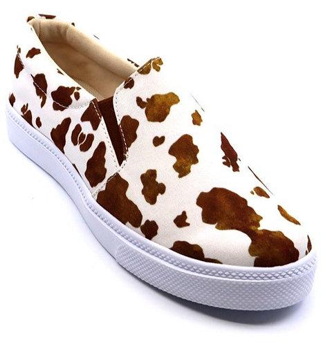 Brown Cow Print Slip On Sneakers