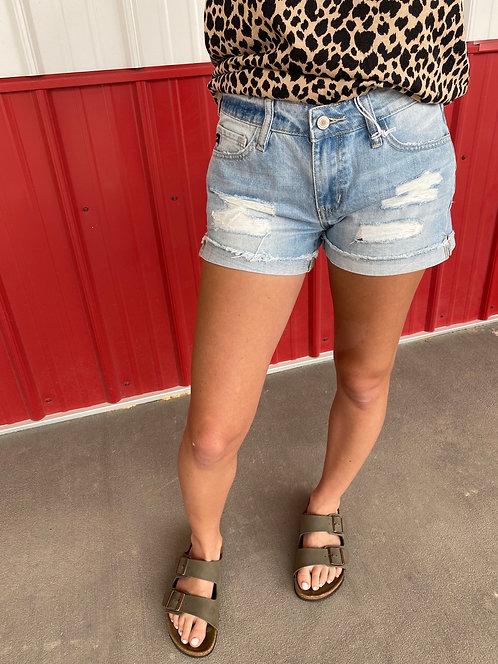KanCan - Light Wash Mid Rise Distressed Cuff Shorts