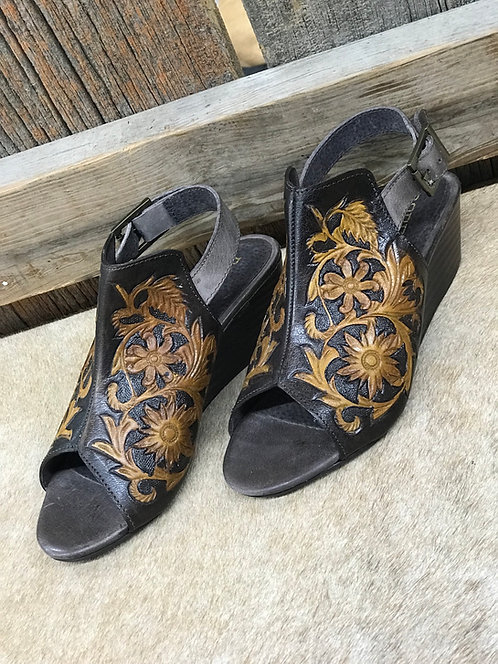 Roper Dark Leather Tooled Wedge