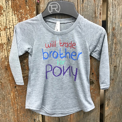 """Will trade brother for pony"" Girls Roper Shirt"
