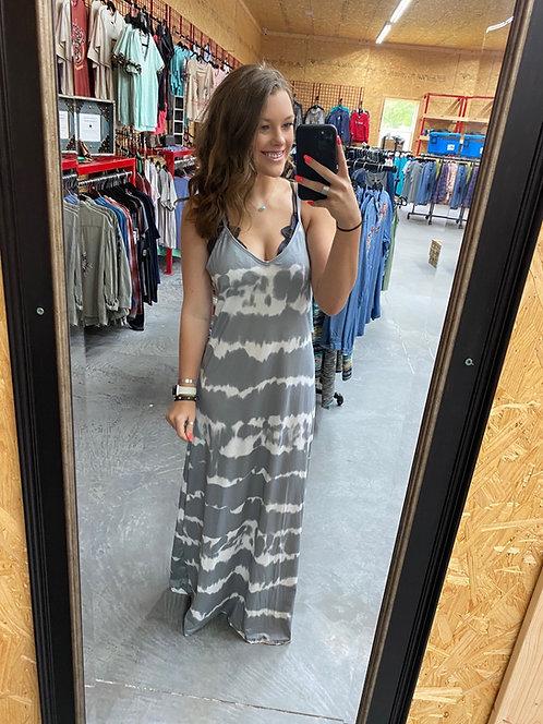 Gray Tie-Die Maxi Dress