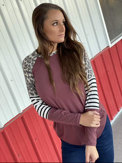 Long sleeve Burgundy with leopard detail and stripes