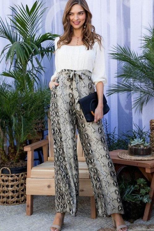 Snake Print Pants Contrast Top Jumpsuit