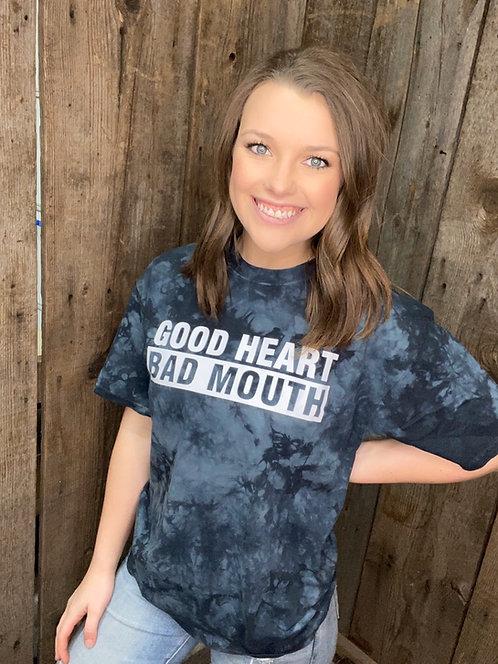 Good Heart 🖤 Bad Mouth 🤭 Black Bleach Tee