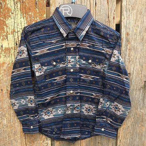 Boys Roper Button Up - aztec/brown/blue