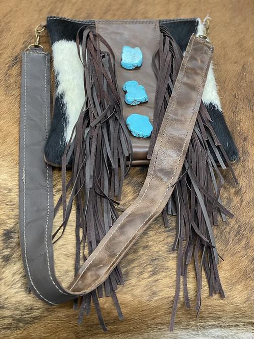 Crossbody Handbag w/ Brown Fringe & Turquoise Slabs