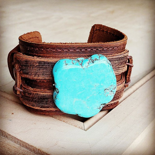 Blue Turquoise Slab on Dusty Leather Cuff 230x