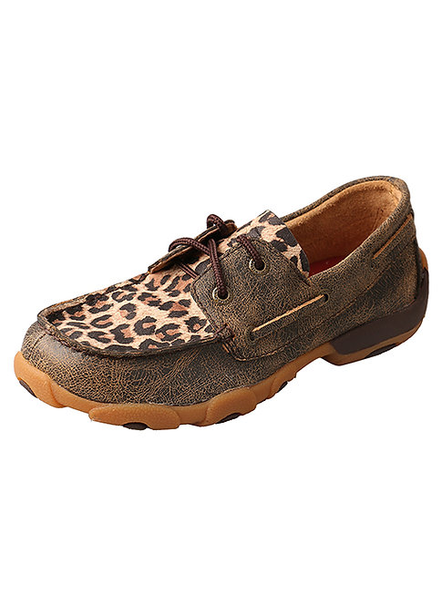 Kid's Driving Moccasins – Distressed/Leopard YDM0028