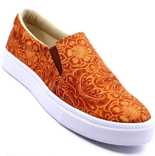 Tooled Leather Print Slip On Sneakers