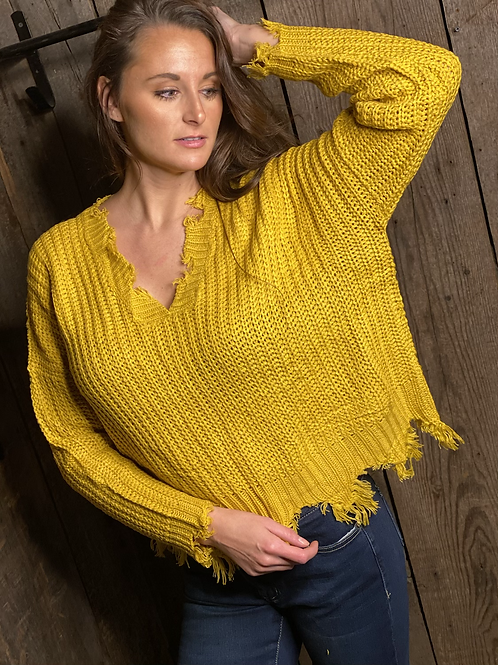 Distressed Edge Mustard Sweater.