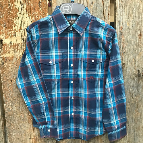 Boys Roper Button Up - plaid/blue/red