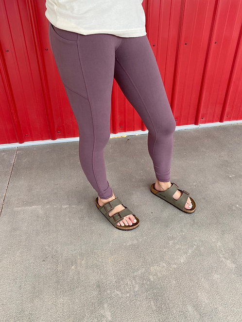 Soft Plum High Waisted Leggings with side pockets