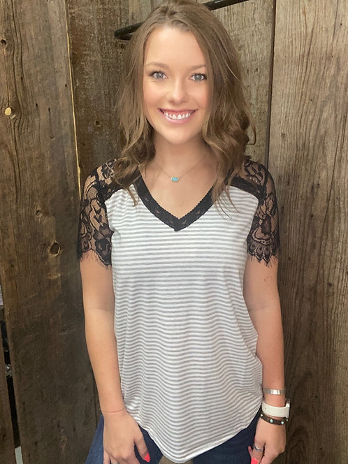Grey Lace Sleeve Stripped Top