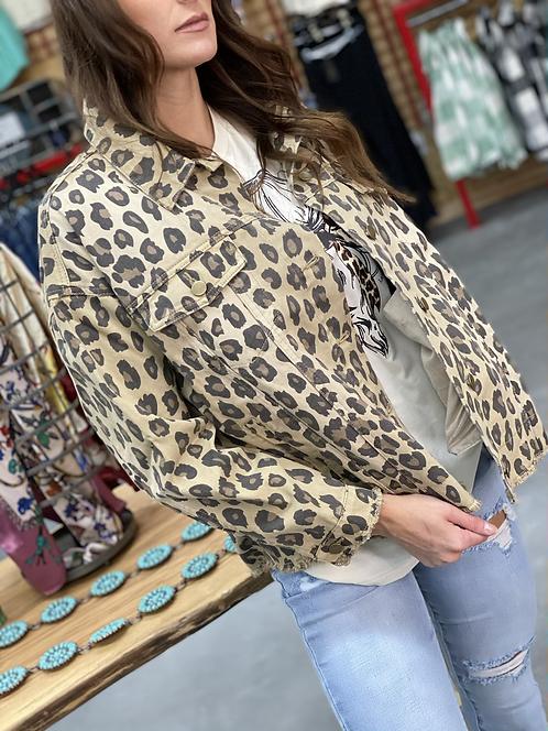 Button Down Leopard Jean Jacket