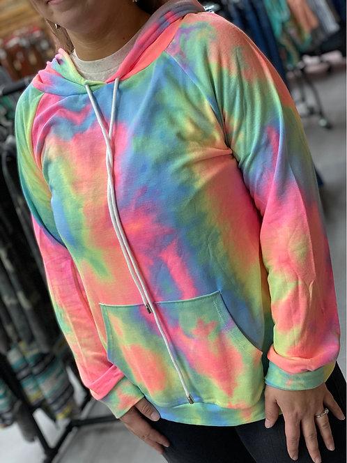 Basic Neon Tie-dye Hoodie
