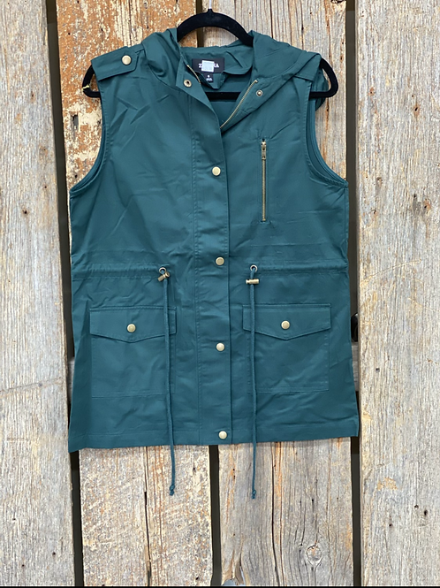 Hunter Green Utility Vest with Hood