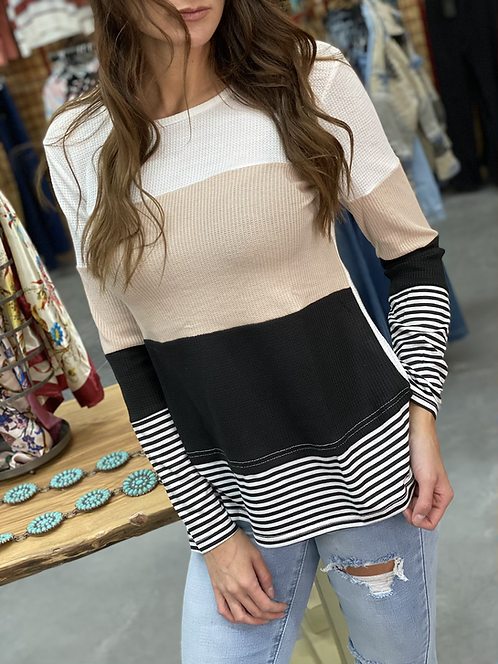 Neutral color block long sleeve with strip accent