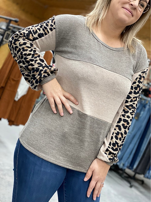 Neutral color block long sleeve with leopard accent