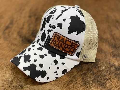 Race Ranch Black / White Cow- Ponytail Hat