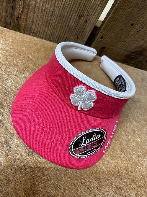 Ladies Pink Black Clover Cap