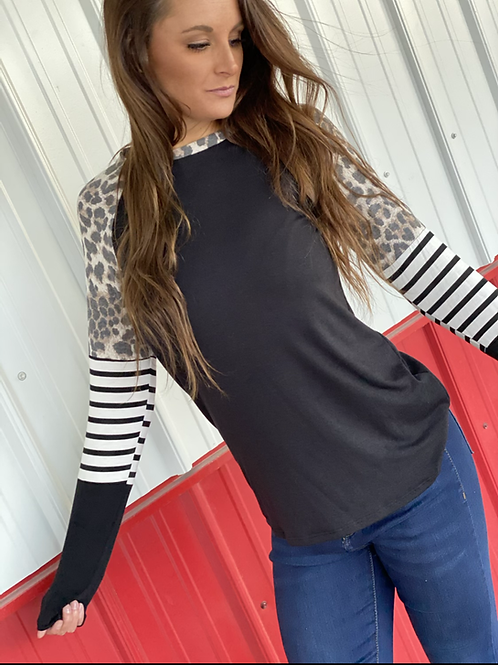 Long sleeve black with leopard detail and stripes