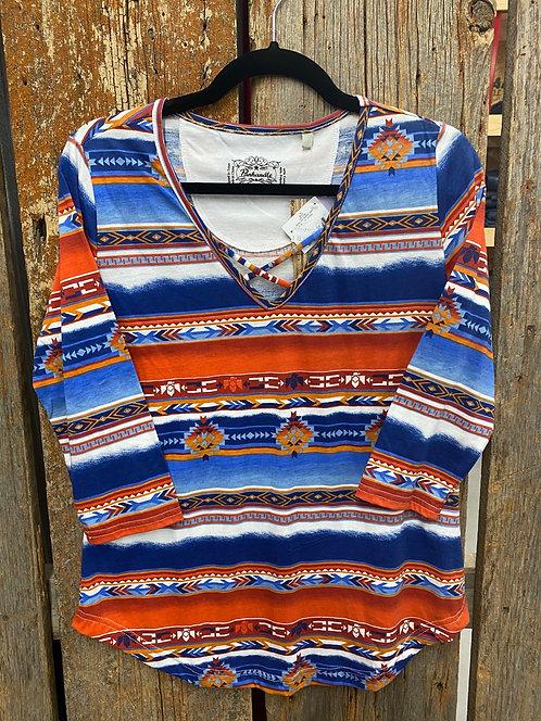 Panhandle Aztec Half Sleeve Top