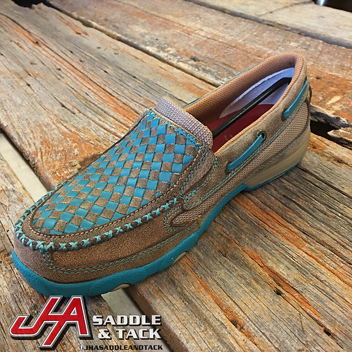 Women's Slip-On Driving Moccasins – Bomber/Turquoise WDMS006