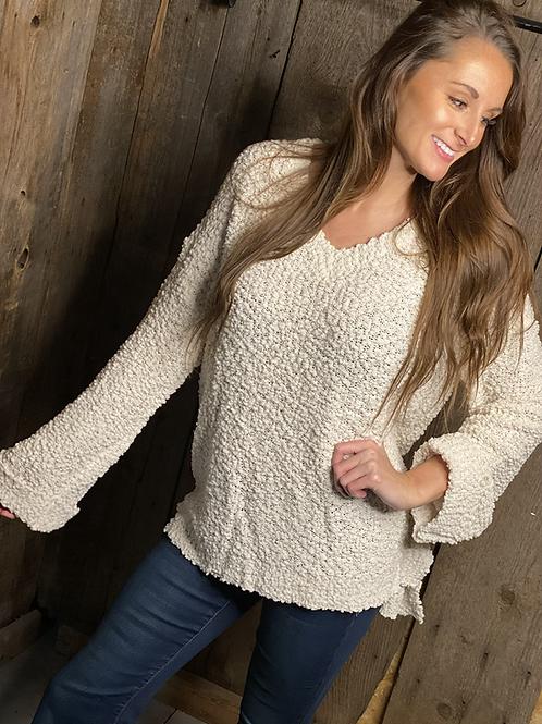 Ivory Popcorn Oversized Sweater