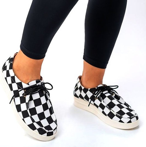 Black Checkered Slip On Bros