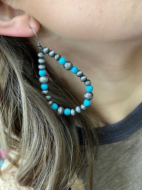 Beaded Grey turquoise beaded earrings