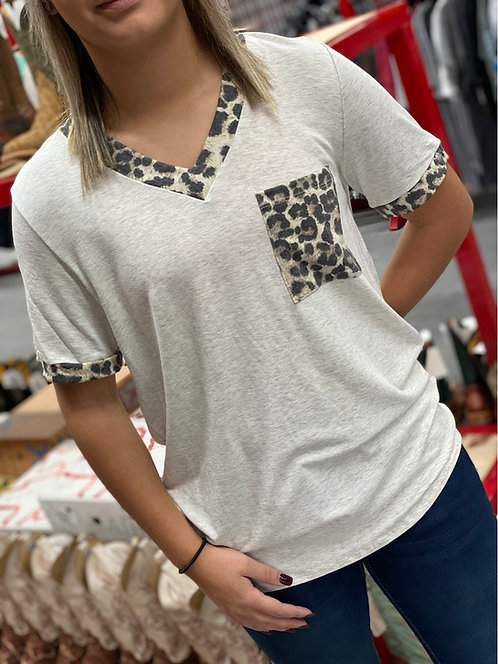 Heather Grey shirt sleeve with leopard print detail