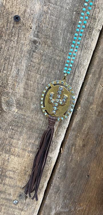 Pink Panache Turquoise Cactus Necklace