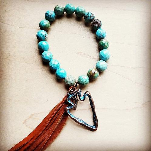 Faceted Blue Turquoise Bracelet & Arrowhead Tassel 803p