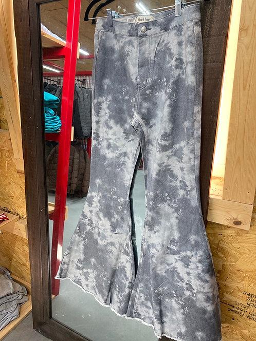 Grey Acid Wash High Waiste Bell Bottom Jeans