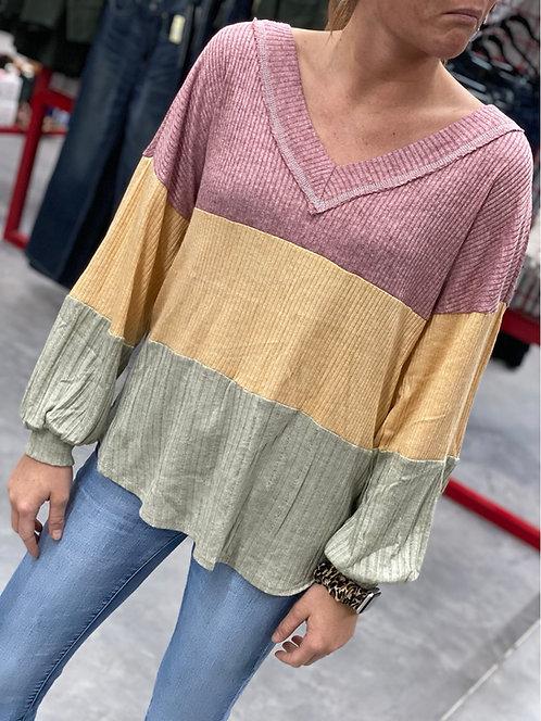 Mauve Color Block Long Sleeve