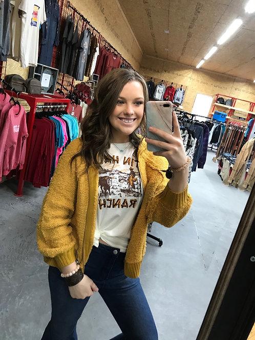 Mustard Hooded Sweater Teddy Jacket