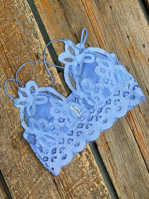 Spring Blue Lace Bralette Floral