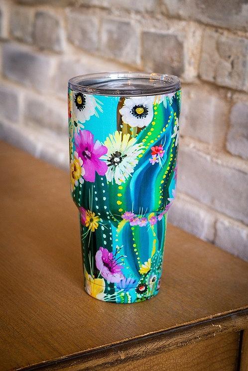 Flowered Cactus Print - Tumbler