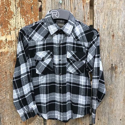 Boys Roper Flannel - black/grey/white