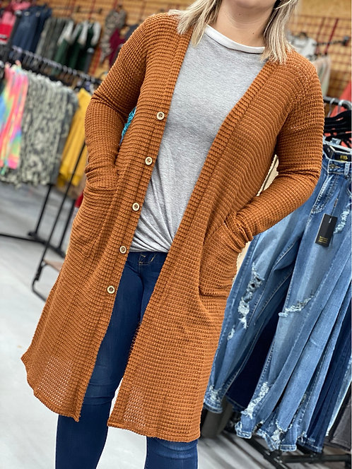 Camel Button Down Waffle duster