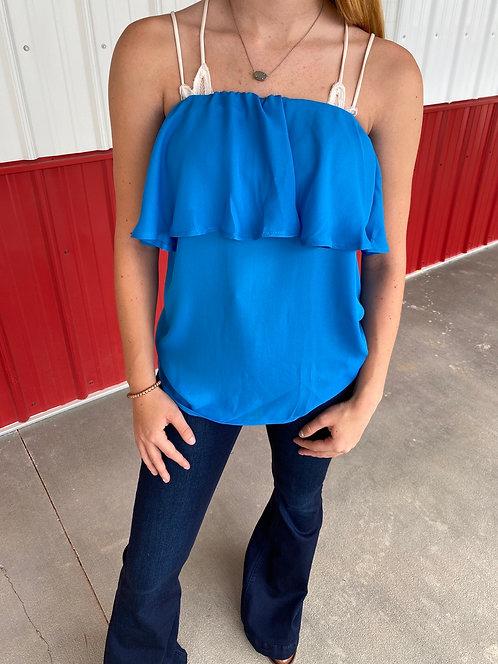Blue Strapless Shirt