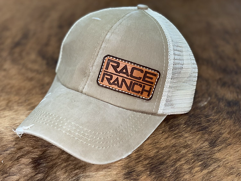 Race Ranch Distressed Olive Green / Khaki- Ponytail Hat
