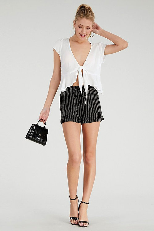 BLACK STRIPED HIGH RISE SHORTS