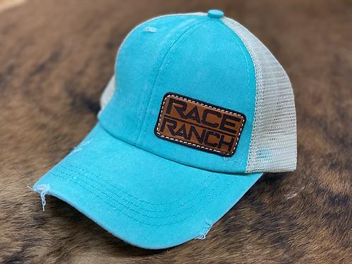 Race Ranch Distressed Turquoise / Khaki- Ponytail Hat