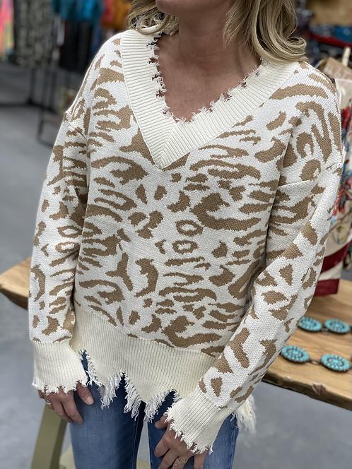 Frayed Cream Leopard distressed sweater