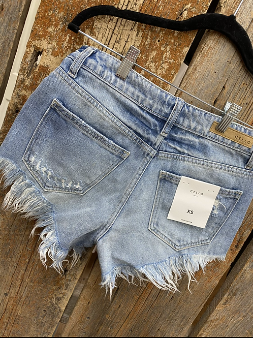 Denim Light Wash Fringe Shorts
