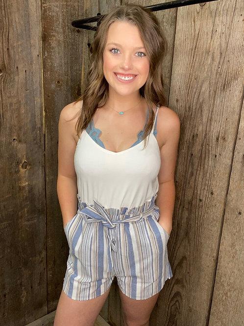 Stripe High Waist With Belt Cami Romper