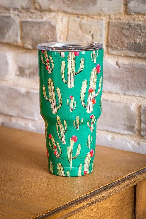 Turquoise Cactus Print - Tumbler