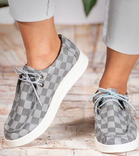 Grey Checkered Slip On Bros